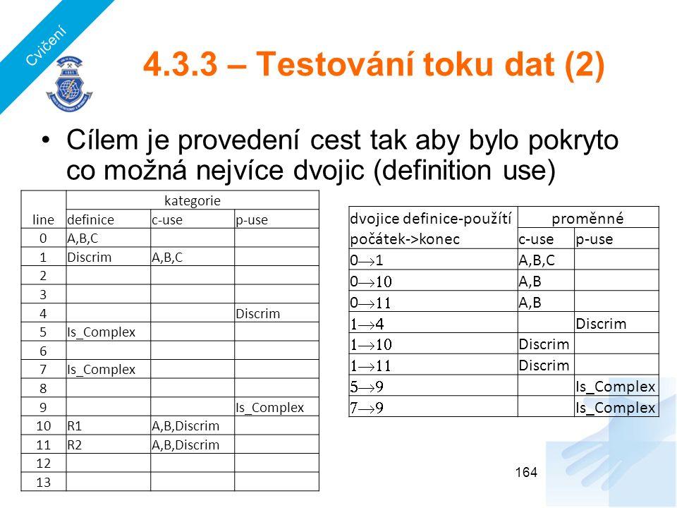 4.3.3 – Testování toku dat (2) Cílem je provedení cest tak aby bylo pokryto co možná nejvíce dvojic (definition use) 164 dvojice definice-použítíproměnné počátek->konecc-usep-use 0101 A,B,C 0  A,B 0  A,B  Discrim  Discrim  Discrim  Is_Complex  Is_Complex line kategorie definicec-usep-use 0A,B,C 1DiscrimA,B,C 2 3 4 Discrim 5Is_Complex 6 7 8 9 10R1A,B,Discrim 11R2A,B,Discrim 12 13 Cvičení