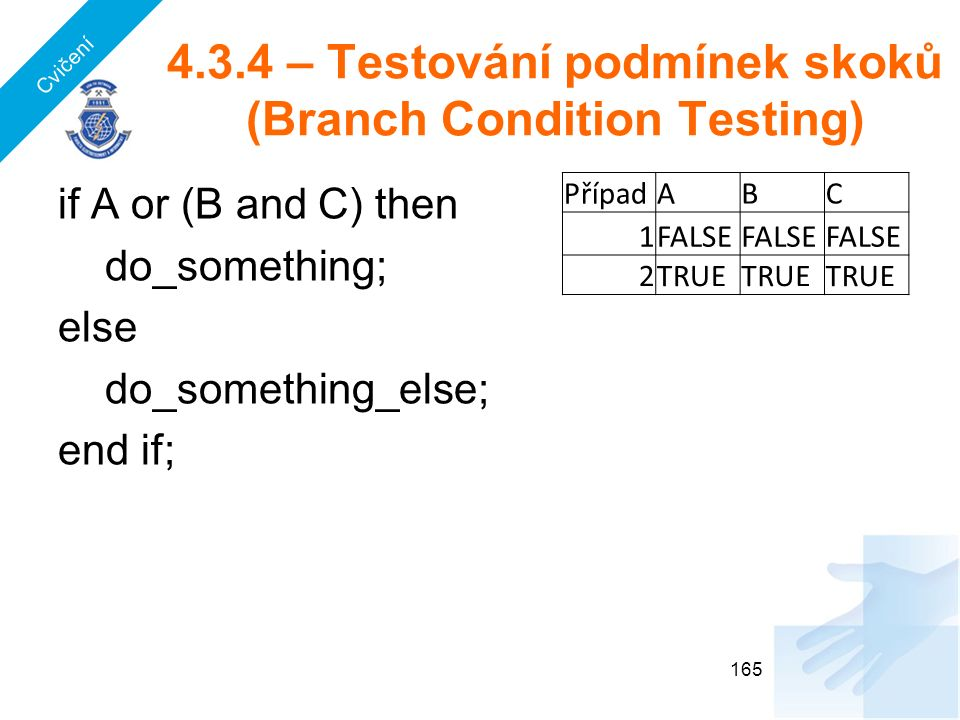 4.3.4 – Testování podmínek skoků (Branch Condition Testing) if A or (B and C) then do_something; else do_something_else; end if; 165 PřípadABC 1FALSE 2TRUE Cvičení