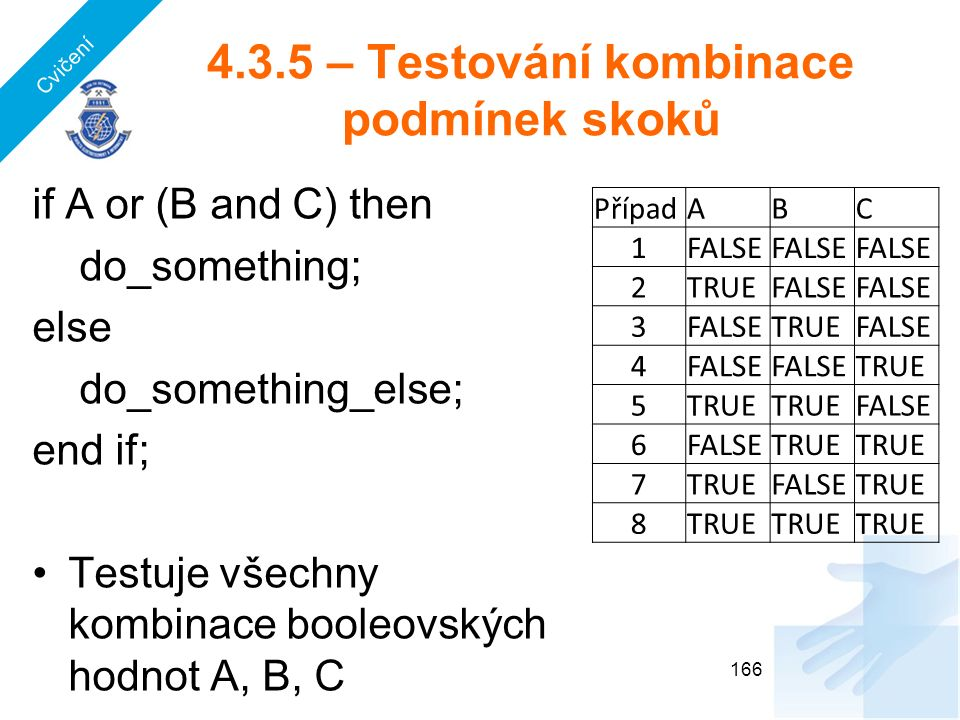 4.3.5 – Testování kombinace podmínek skoků 166 if A or (B and C) then do_something; else do_something_else; end if; Testuje všechny kombinace booleovských hodnot A, B, C PřípadABC 1FALSE 2TRUEFALSE 3 TRUEFALSE 4 TRUE 5 FALSE 6 TRUE 7 FALSETRUE 8 Cvičení