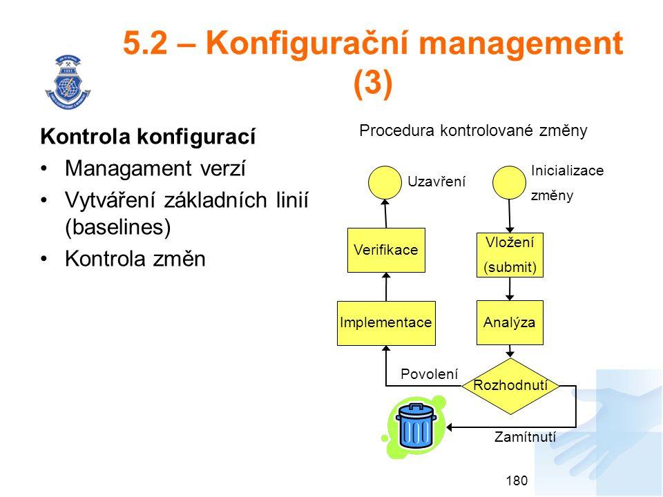 5.2 – Konfigurační management (3) Kontrola konfigurací Managament verzí Vytváření základních linií (baselines) Kontrola změn 180 Procedura kontrolované změny Vložení (submit) Analýza Verifikace Implementace Rozhodnutí Inicializace změny Uzavření Zamítnutí Povolení