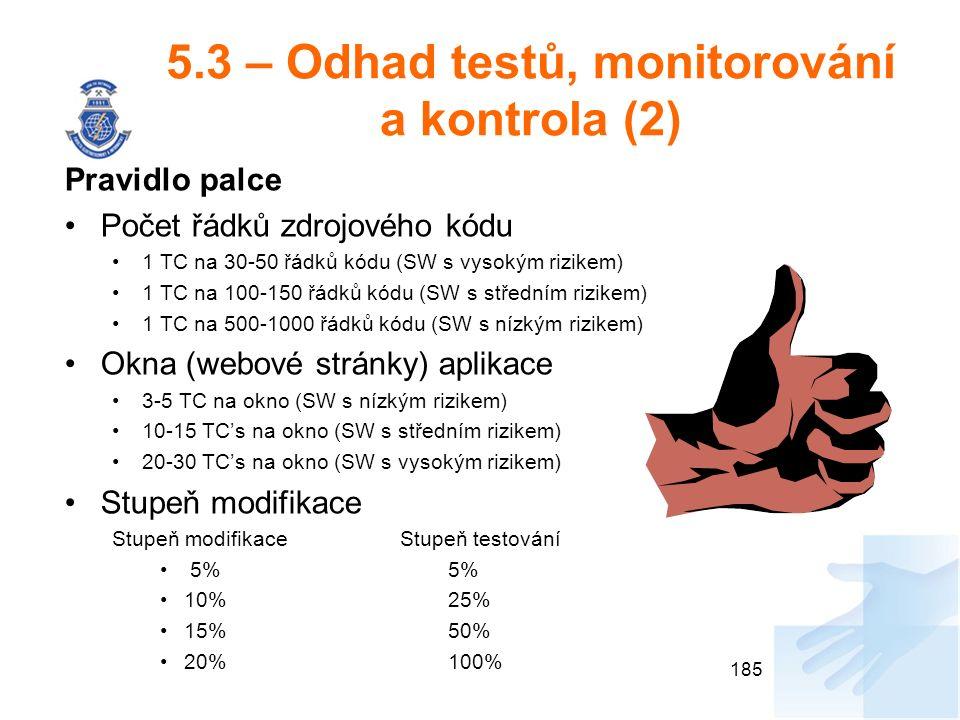 5.3 – Odhad testů, monitorování a kontrola (2) Pravidlo palce Počet řádků zdrojového kódu 1 TC na 30-50 řádků kódu (SW s vysokým rizikem) 1 TC na 100-150 řádků kódu (SW s středním rizikem) 1 TC na 500-1000 řádků kódu (SW s nízkým rizikem) Okna (webové stránky) aplikace 3-5 TC na okno (SW s nízkým rizikem) 10-15 TC's na okno (SW s středním rizikem) 20-30 TC's na okno (SW s vysokým rizikem) Stupeň modifikace Stupeň modifikace Stupeň testování 5% 5% 10% 25% 15% 50% 20%100% 185