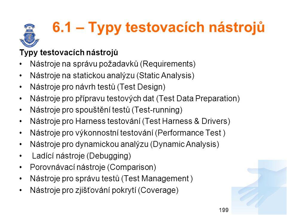 6.1 – Typy testovacích nástrojů Typy testovacích nástrojů Nástroje na správu požadavků (Requirements) Nástroje na statickou analýzu (Static Analysis)
