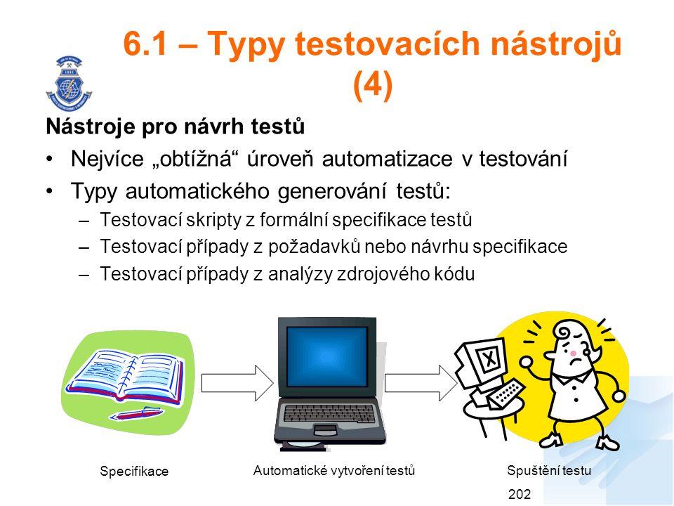 """6.1 – Typy testovacích nástrojů (4) Nástroje pro návrh testů Nejvíce """"obtížná úroveň automatizace v testování Typy automatického generování testů: –Testovací skripty z formální specifikace testů –Testovací případy z požadavků nebo návrhu specifikace –Testovací případy z analýzy zdrojového kódu 202 Specifikace Automatické vytvoření testůSpuštění testu"""