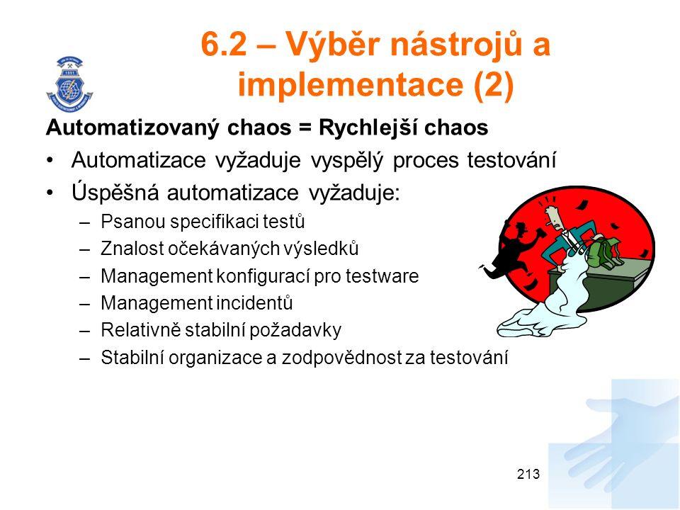 6.2 – Výběr nástrojů a implementace (2) Automatizovaný chaos = Rychlejší chaos Automatizace vyžaduje vyspělý proces testování Úspěšná automatizace vyžaduje: –Psanou specifikaci testů –Znalost očekávaných výsledků –Management konfigurací pro testware –Management incidentů –Relativně stabilní požadavky –Stabilní organizace a zodpovědnost za testování 213