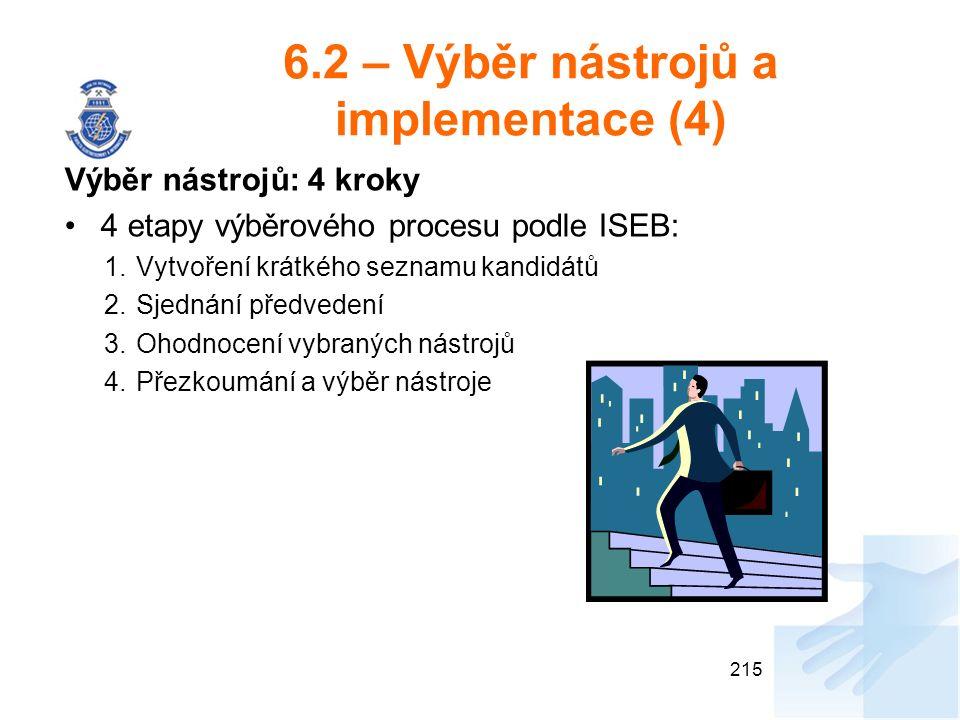 6.2 – Výběr nástrojů a implementace (4) Výběr nástrojů: 4 kroky 4 etapy výběrového procesu podle ISEB: 1.Vytvoření krátkého seznamu kandidátů 2.Sjednání předvedení 3.Ohodnocení vybraných nástrojů 4.Přezkoumání a výběr nástroje 215