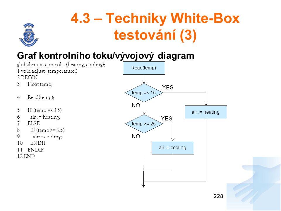 4.3 – Techniky White-Box testování (3) Graf kontrolního toku/vývojový diagram global enum control – {heating, cooling}; 1 void adjust_temperature() 2 BEGIN 3Float temp; 4Read(temp); 5IF (temp =< 15) 6 air := heating; 7ELSE 8 IF (temp >= 25) 9 air:= cooling; 10 ENDIF 11ENDIF 12 END 228 Read(temp) temp =< 15 temp >= 25 air := heating air := cooling YES NO