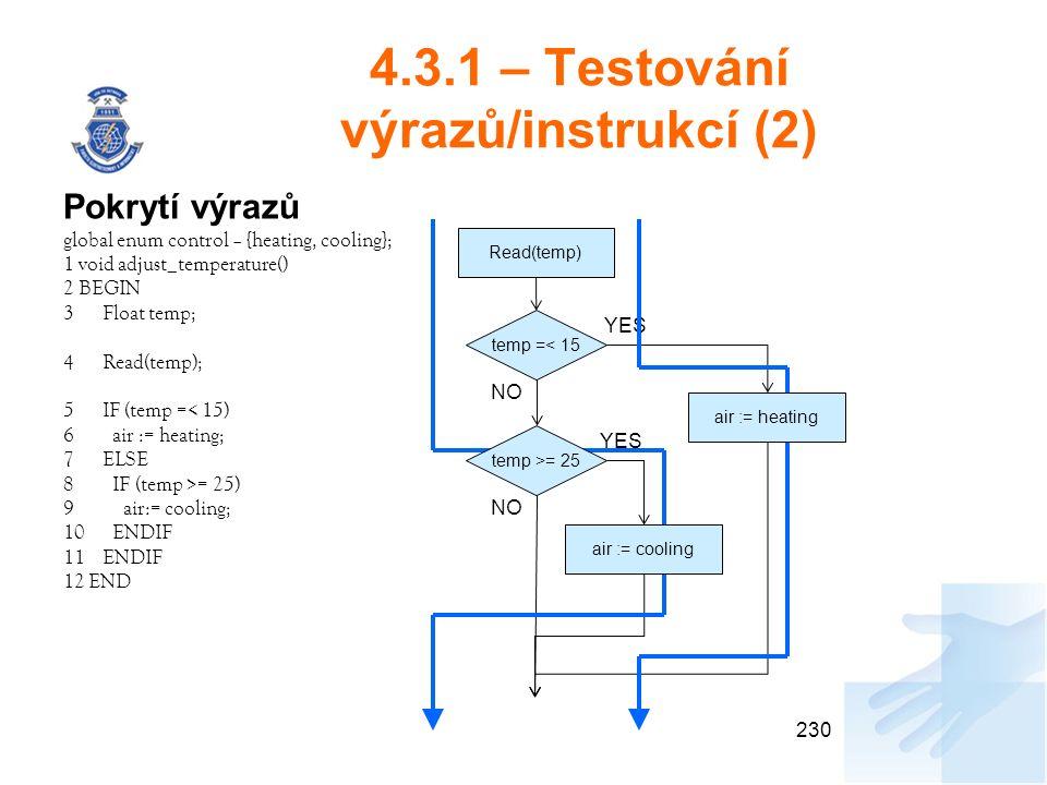 4.3.1 – Testování výrazů/instrukcí (2) Pokrytí výrazů global enum control – {heating, cooling}; 1 void adjust_temperature() 2 BEGIN 3Float temp; 4Read(temp); 5IF (temp =< 15) 6 air := heating; 7ELSE 8 IF (temp >= 25) 9 air:= cooling; 10 ENDIF 11ENDIF 12 END 230 Read(temp) temp =< 15 temp >= 25 air := heating air := cooling YES NO