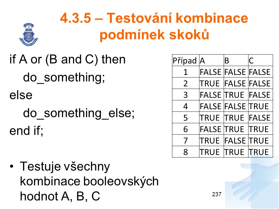4.3.5 – Testování kombinace podmínek skoků 237 if A or (B and C) then do_something; else do_something_else; end if; Testuje všechny kombinace booleovských hodnot A, B, C PřípadABC 1FALSE 2TRUEFALSE 3 TRUEFALSE 4 TRUE 5 FALSE 6 TRUE 7 FALSETRUE 8