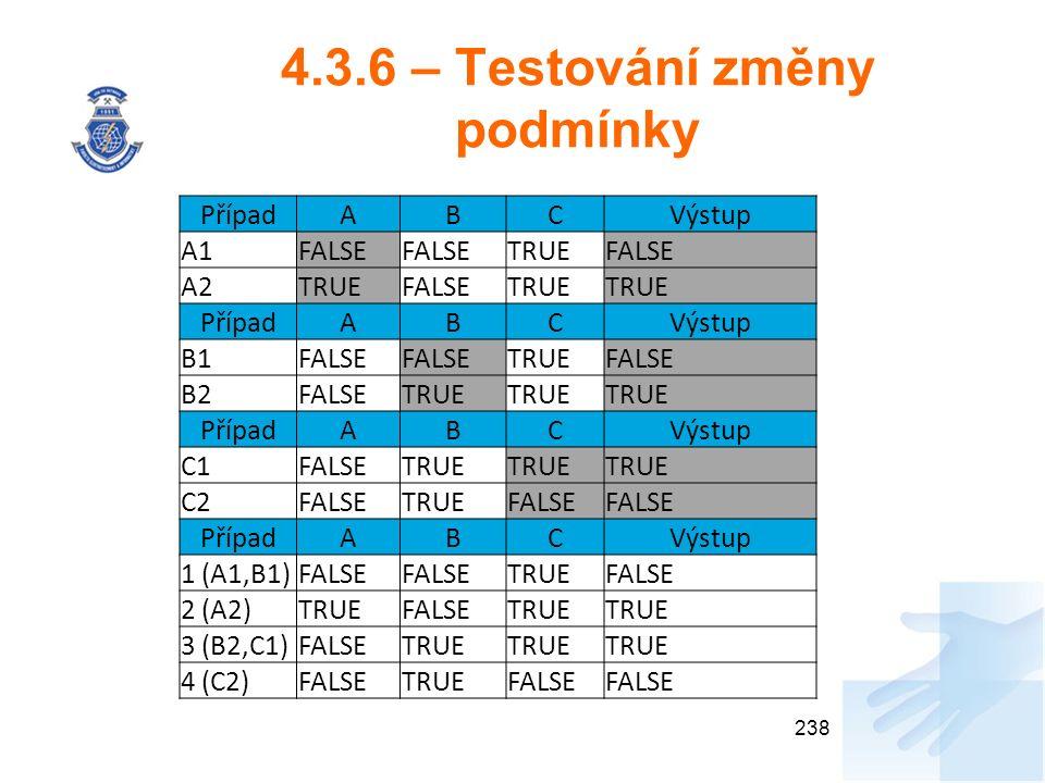 4.3.6 – Testování změny podmínky 238 PřípadABCVýstup A1FALSE TRUEFALSE A2TRUEFALSETRUE PřípadABCVýstup B1FALSE TRUEFALSE B2FALSETRUE PřípadABCVýstup C1FALSETRUE C2FALSETRUEFALSE PřípadABCVýstup 1 (A1,B1)FALSE TRUEFALSE 2 (A2)TRUEFALSETRUE 3 (B2,C1)FALSETRUE 4 (C2)FALSETRUEFALSE