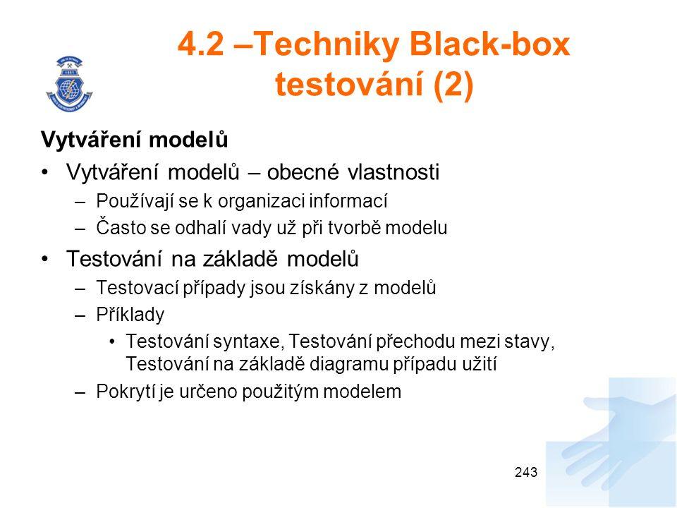 4.2 –Techniky Black-box testování (2) Vytváření modelů Vytváření modelů – obecné vlastnosti –Používají se k organizaci informací –Často se odhalí vady už při tvorbě modelu Testování na základě modelů –Testovací případy jsou získány z modelů –Příklady Testování syntaxe, Testování přechodu mezi stavy, Testování na základě diagramu případu užití –Pokrytí je určeno použitým modelem 243