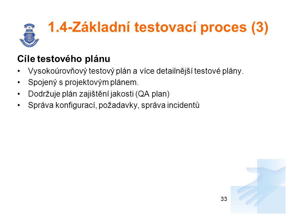 1.4-Základní testovací proces (3) Cíle testového plánu Vysokoúrovňový testový plán a více detailnější testové plány. Spojený s projektovým plánem. Dod