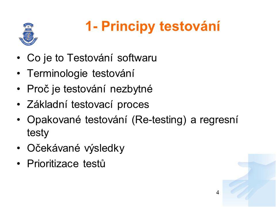 1- Principy testování Co je to Testování softwaru Terminologie testování Proč je testování nezbytné Základní testovací proces Opakované testování (Re-testing) a regresní testy Očekávané výsledky Prioritizace testů 4