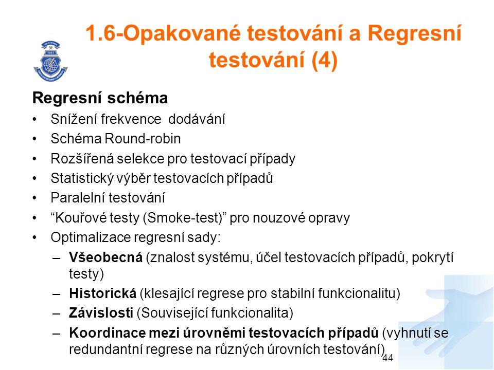 1.6-Opakované testování a Regresní testování (4) Regresní schéma Snížení frekvence dodávání Schéma Round-robin Rozšířená selekce pro testovací případy