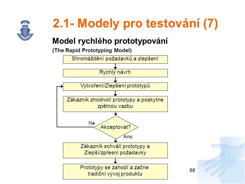 2.1- Modely pro testování (7) Model rychlého prototypování (The Rapid Prototyping Model) 66 Shromáždění požadavků a zlepšení Rychlý návrh Vytvoření/Zlepšení prototypů Zákazník zhodnotí prototypy a poskytne zpětnou vazbu Zákazník schválí prototypy a Zlepší/zpřesní požadavky Prototypy se zahodí a začne tradiční vývoj produktu Akceptovat.
