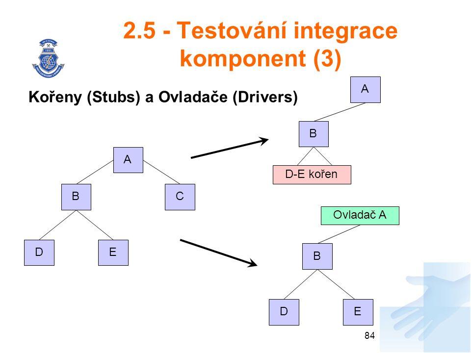 2.5 - Testování integrace komponent (3) Kořeny (Stubs) a Ovladače (Drivers) 84 A CB DE A B D-E kořen Ovladač A B DE
