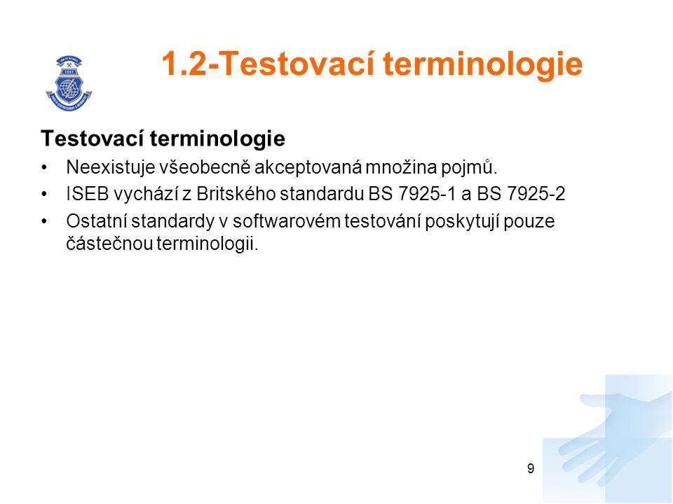 1.2-Testovací terminologie Testovací terminologie Neexistuje všeobecně akceptovaná množina pojmů. ISEB vychází z Britského standardu BS 7925-1 a BS 79