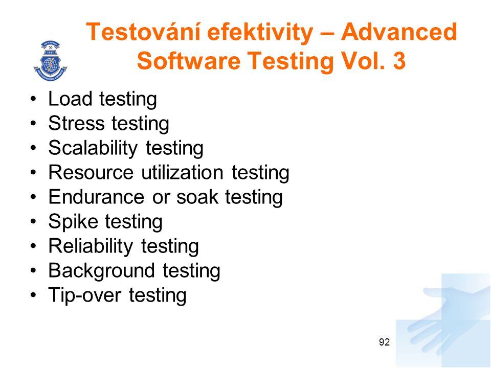 Testování efektivity – Advanced Software Testing Vol. 3 Load testing Stress testing Scalability testing Resource utilization testing Endurance or soak