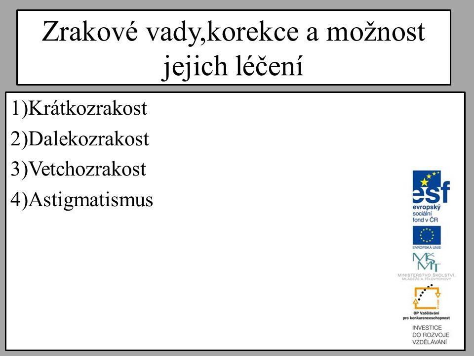 Zrakové vady,korekce a možnost jejich léčení 1)Krátkozrakost 2)Dalekozrakost 3)Vetchozrakost 4)Astigmatismus