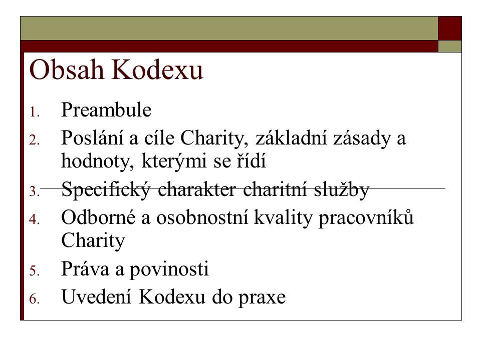 Obsah Kodexu 1. Preambule 2. Poslání a cíle Charity, základní zásady a hodnoty, kterými se řídí 3.