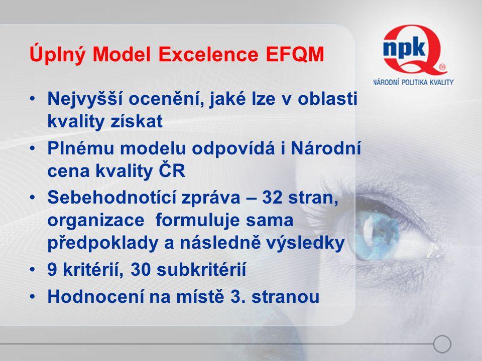 Úplný Model Excelence EFQM Nejvyšší ocenění, jaké lze v oblasti kvality získat Plnému modelu odpovídá i Národní cena kvality ČR Sebehodnotící zpráva – 32 stran, organizace formuluje sama předpoklady a následně výsledky 9 kritérií, 30 subkritérií Hodnocení na místě 3.