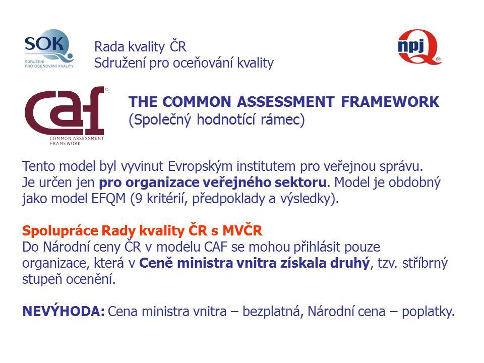 THE COMMON ASSESSMENT FRAMEWORK (Společný hodnotící rámec) Tento model byl vyvinut Evropským institutem pro veřejnou správu.