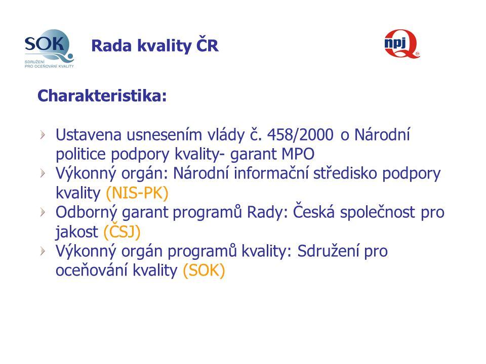 Rada kvality ČR Charakteristika: Ustavena usnesením vlády č.