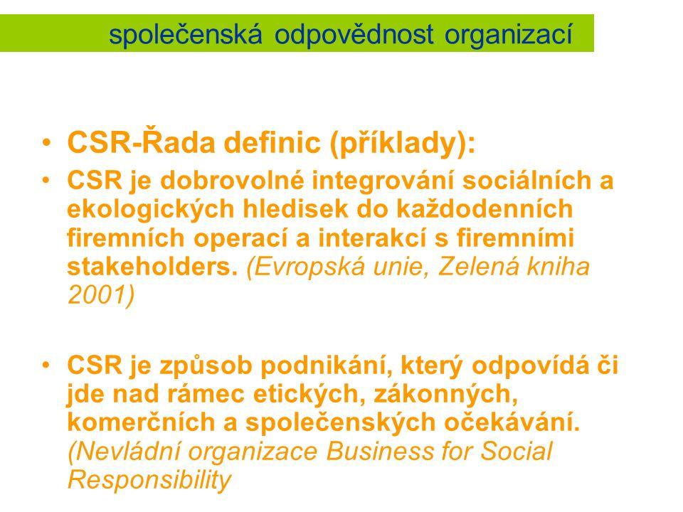 společenská odpovědnost organizací CSR-Řada definic (příklady): CSR je dobrovolné integrování sociálních a ekologických hledisek do každodenních firemních operací a interakcí s firemními stakeholders.