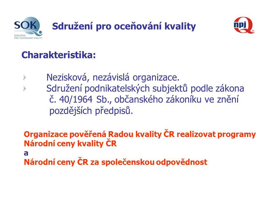 Sdružení pro oceňování kvality Charakteristika: Nezisková, nezávislá organizace.