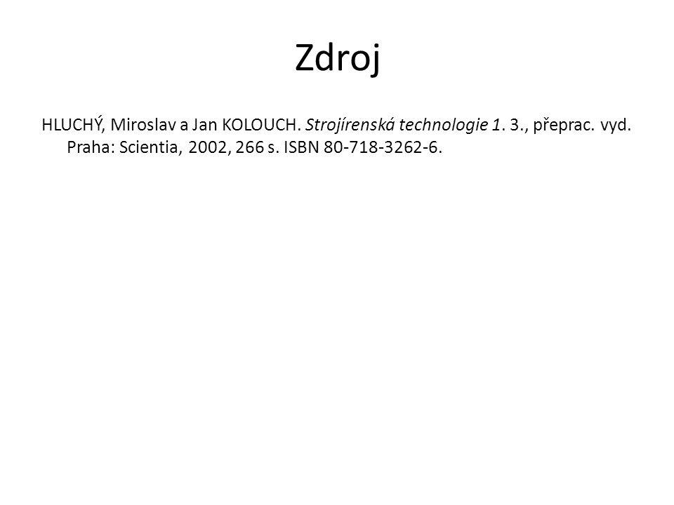 Zdroj HLUCHÝ, Miroslav a Jan KOLOUCH. Strojírenská technologie 1.