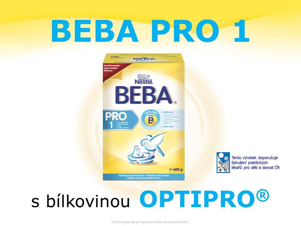 20 Nejnižší množství vysoce kvalitní bílkoviny BEBA PRO 1 s bílkovinou OPTIPRO ® Určeno pouze pro pracovníky ve zdravotnictví