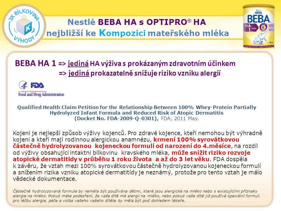 30 Nestlé BEBA HA s OPTIPRO ® HA nejbližší ke K ompozici mateřského mléka Kojení je nejlepší způsob výživy kojenců.