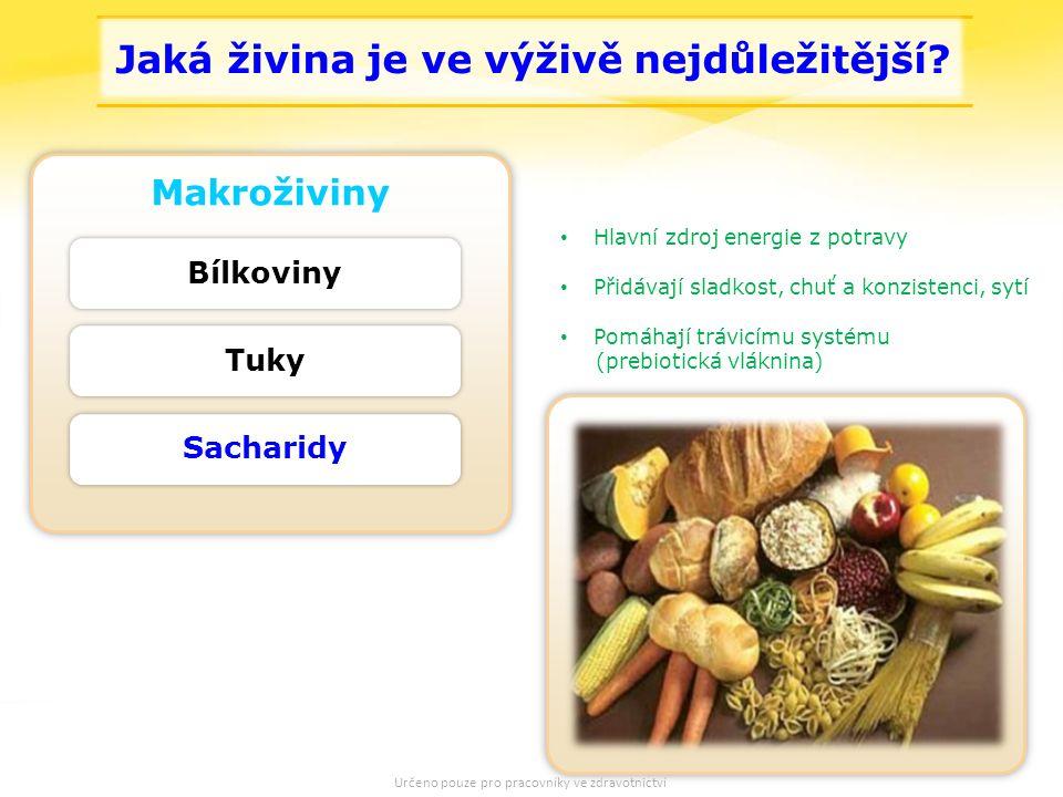 7 Makroživiny Tuky Sacharidy Bílkoviny Hlavní zdroj energie z potravy Přidávají sladkost, chuť a konzistenci, sytí Pomáhají trávicímu systému (prebiotická vláknina) Jaká živina je ve výživě nejdůležitější.
