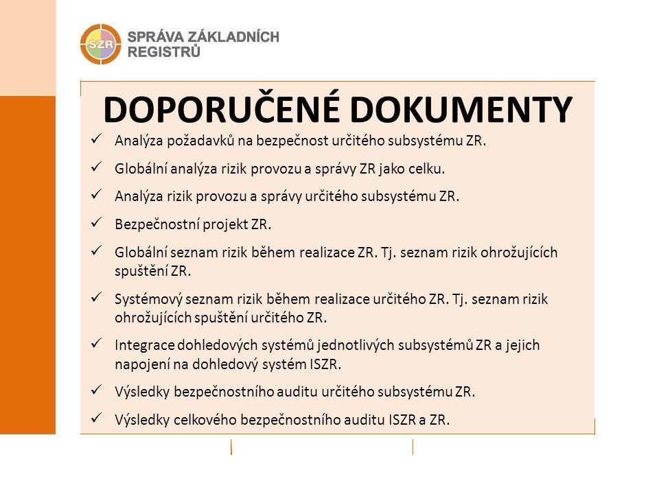 POVINNÉ DOKUMENTY DOPORUČENÉ DOKUMENTY Analýza požadavků na bezpečnost určitého subsystému ZR.