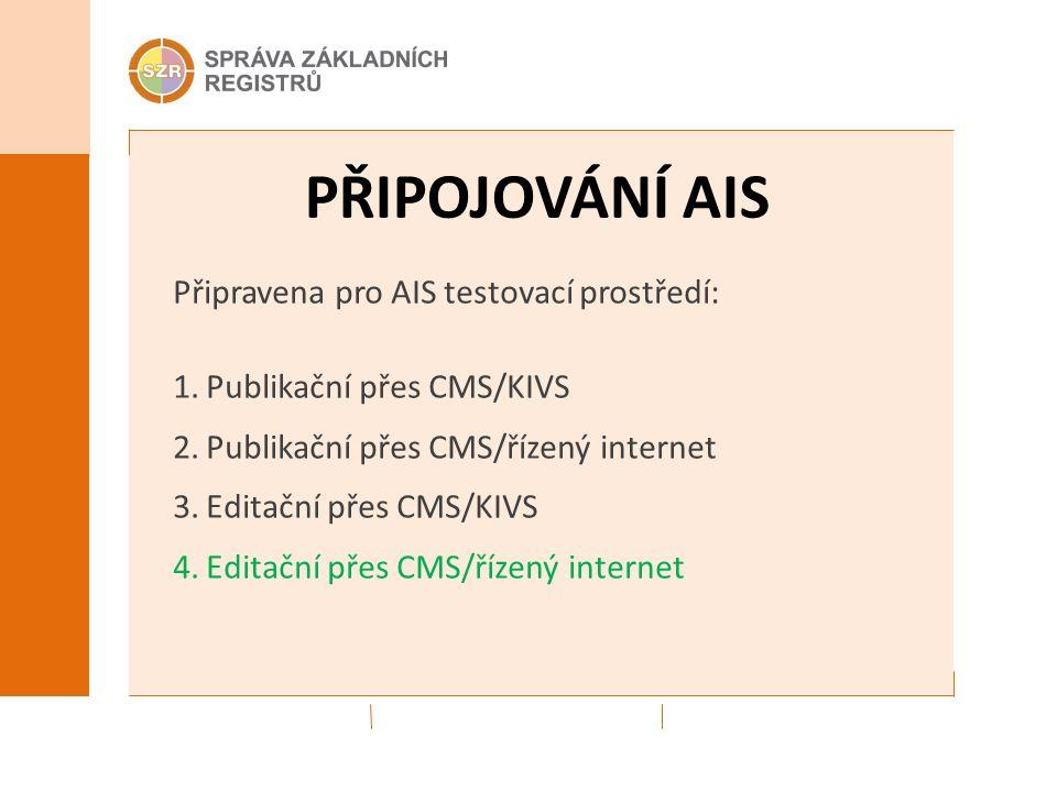 PŘIPOJOVÁNÍ AIS Připravena pro AIS testovací prostředí: 1.Publikační přes CMS/KIVS 2.Publikační přes CMS/řízený internet 3.Editační přes CMS/KIVS 4.Editační přes CMS/řízený internet