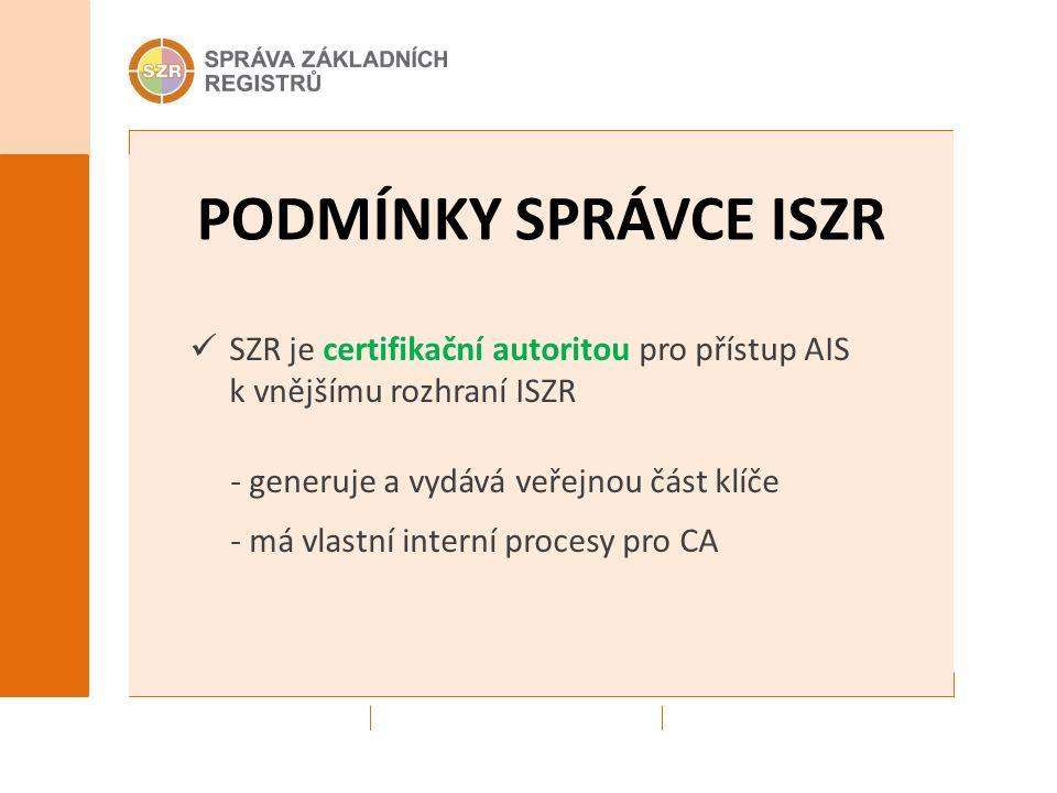 PODMÍNKY SPRÁVCE ISZR SZR je certifikační autoritou pro přístup AIS k vnějšímu rozhraní ISZR - generuje a vydává veřejnou část klíče - má vlastní interní procesy pro CA