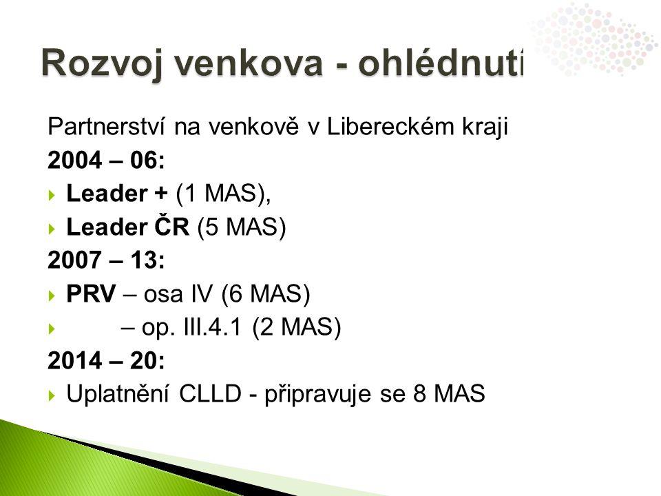 Partnerství na venkově v Libereckém kraji 2004 – 06:  Leader + (1 MAS),  Leader ČR (5 MAS) 2007 – 13:  PRV – osa IV (6 MAS)  – op.