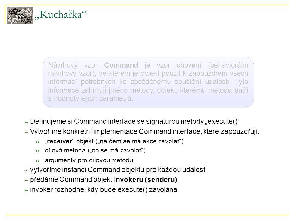 """""""Kuchařka Návrhový vzor Command je vzor chování (behaviorální návrhový vzor), ve kterém je objekt použit k zapouzdření všech informací potřebných ke zpožděnému spuštění události."""