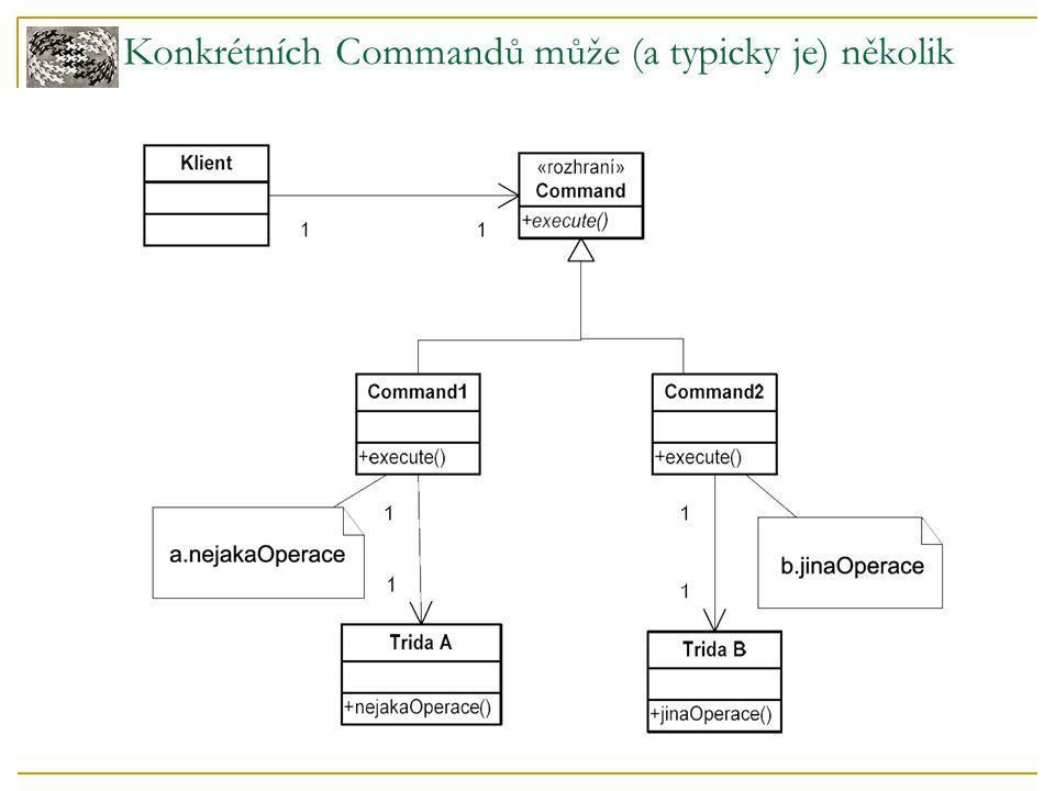 Konkrétních Commandů může (a typicky je) několik