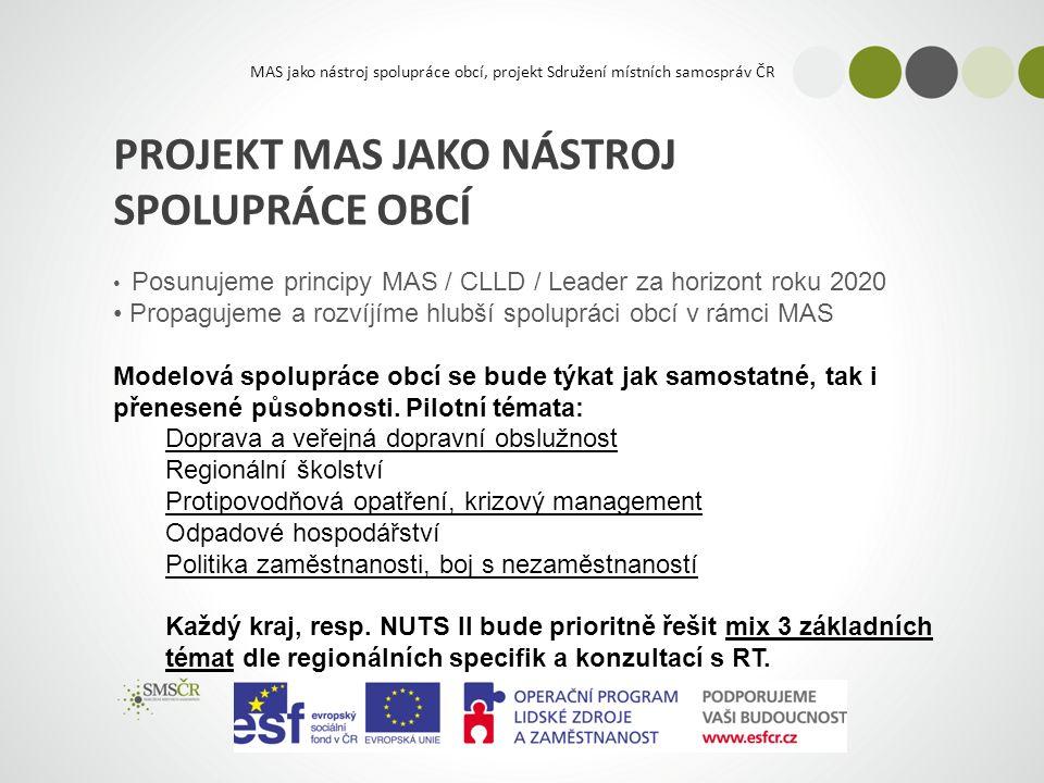 MAS jako nástroj spolupráce obcí, projekt Sdružení místních samospráv ČR PROJEKT MAS JAKO NÁSTROJ SPOLUPRÁCE OBCÍ Posunujeme principy MAS / CLLD / Leader za horizont roku 2020 Propagujeme a rozvíjíme hlubší spolupráci obcí v rámci MAS Modelová spolupráce obcí se bude týkat jak samostatné, tak i přenesené působnosti.