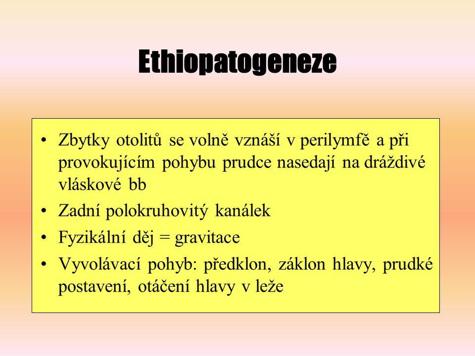 Ethiopatogeneze Zbytky otolitů se volně vznáší v perilymfě a při provokujícím pohybu prudce nasedají na dráždivé vláskové bb Zadní polokruhovitý kanálek Fyzikální děj = gravitace Vyvolávací pohyb: předklon, záklon hlavy, prudké postavení, otáčení hlavy v leže