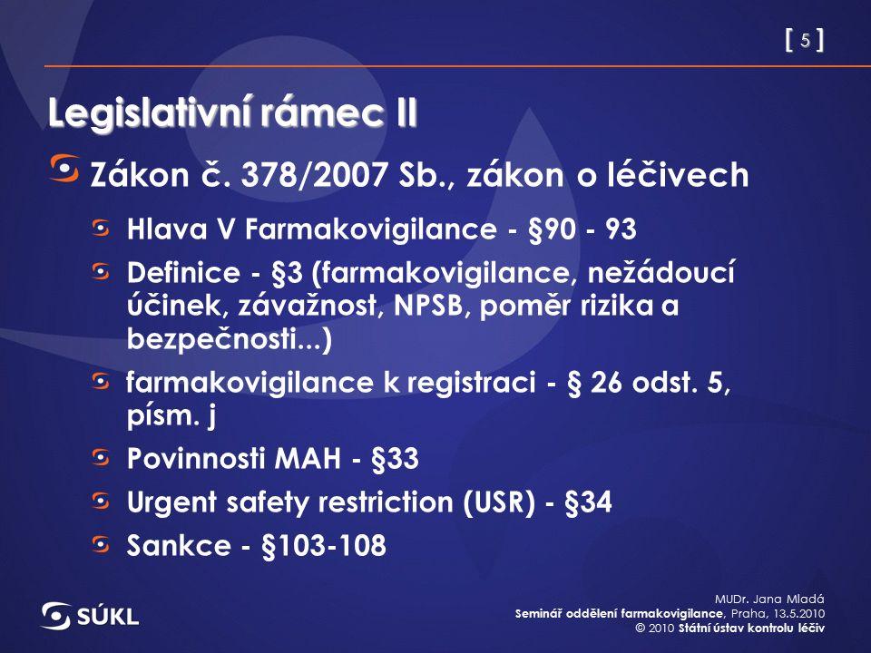 [ 5 ] MUDr. Jana Mladá Seminář oddělení farmakovigilance, Praha, 13.5.2010 © 2010 Státní ústav kontrolu léčiv Legislativní rámec II Zákon č. 378/2007