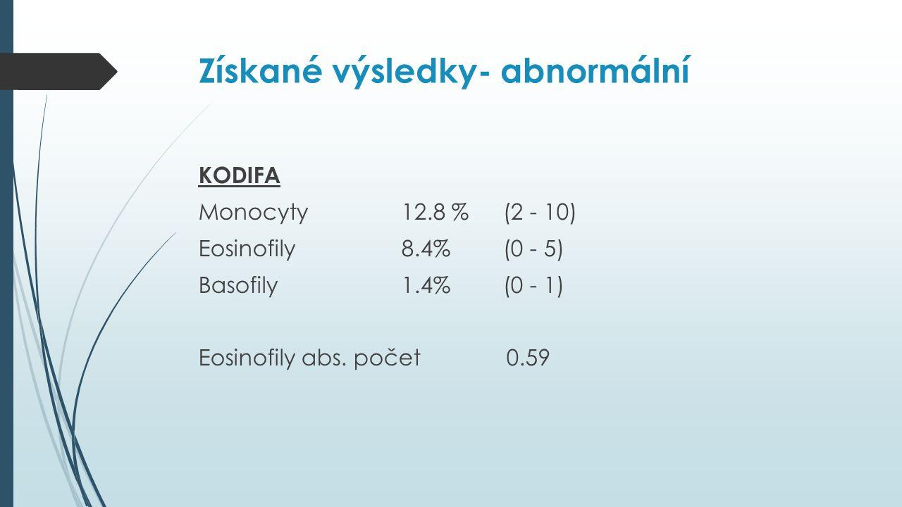 Získané výsledky- abnormální KODIFA Monocyty12.8 %(2 - 10) Eosinofily8.4%(0 - 5) Basofily1.4%(0 - 1) Eosinofily abs.