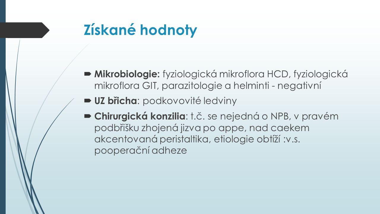Získané hodnoty  Mikrobiologie: fyziologická mikroflora HCD, fyziologická mikroflora GIT, parazitologie a helminti - negativní  UZ břicha : podkovovité ledviny  Chirurgická konzilia : t.č.