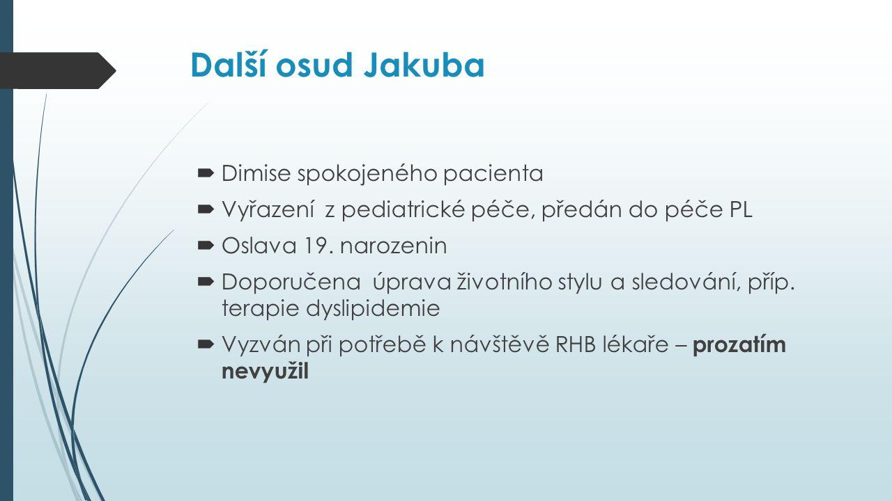 Další osud Jakuba  Dimise spokojeného pacienta  Vyřazení z pediatrické péče, předán do péče PL  Oslava 19.