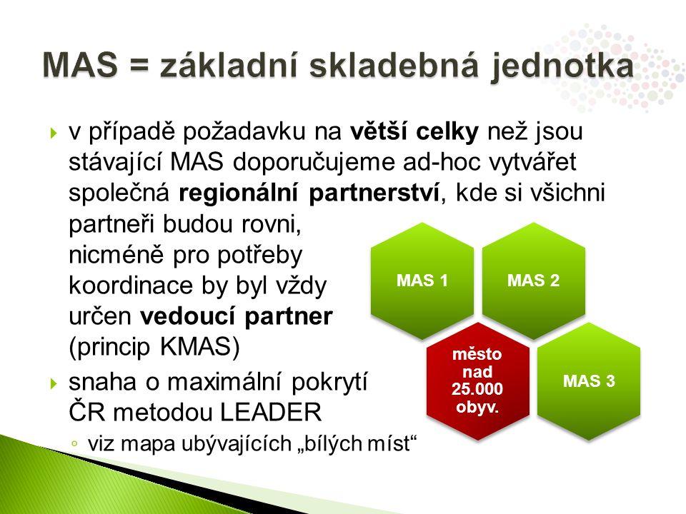 """ v případě požadavku na větší celky než jsou stávající MAS doporučujeme ad-hoc vytvářet společná regionální partnerství, kde si všichni partneři budou rovni, nicméně pro potřeby koordinace by byl vždy určen vedoucí partner (princip KMAS)  snaha o maximální pokrytí ČR metodou LEADER ◦ viz mapa ubývajících """"bílých míst MAS 2 MAS 1 město nad 25.000 obyv."""
