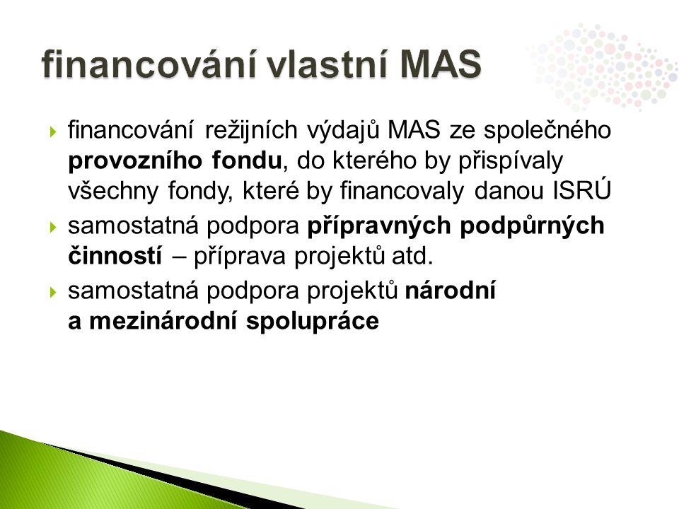  financování režijních výdajů MAS ze společného provozního fondu, do kterého by přispívaly všechny fondy, které by financovaly danou ISRÚ  samostatná podpora přípravných podpůrných činností – příprava projektů atd.