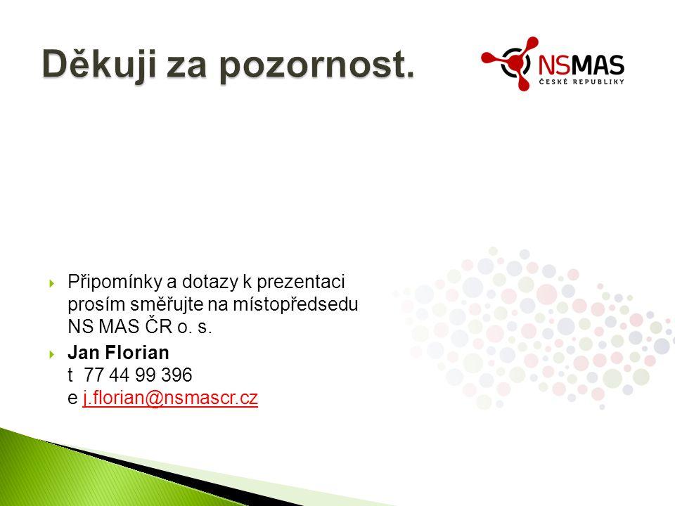  Připomínky a dotazy k prezentaci prosím směřujte na místopředsedu NS MAS ČR o.