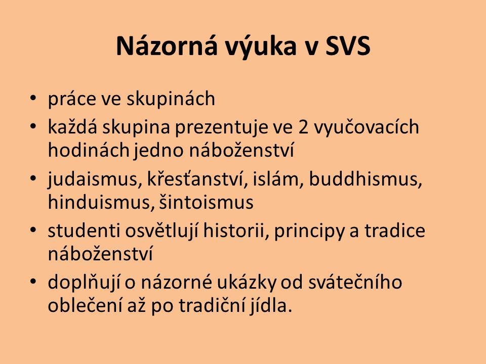 Názorná výuka v SVS práce ve skupinách každá skupina prezentuje ve 2 vyučovacích hodinách jedno náboženství judaismus, křesťanství, islám, buddhismus,