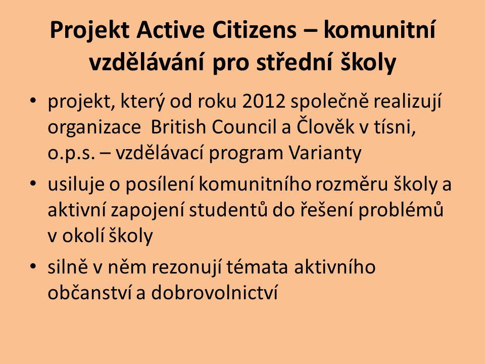 Projekt Active Citizens – komunitní vzdělávání pro střední školy projekt, který od roku 2012 společně realizují organizace British Council a Člověk v