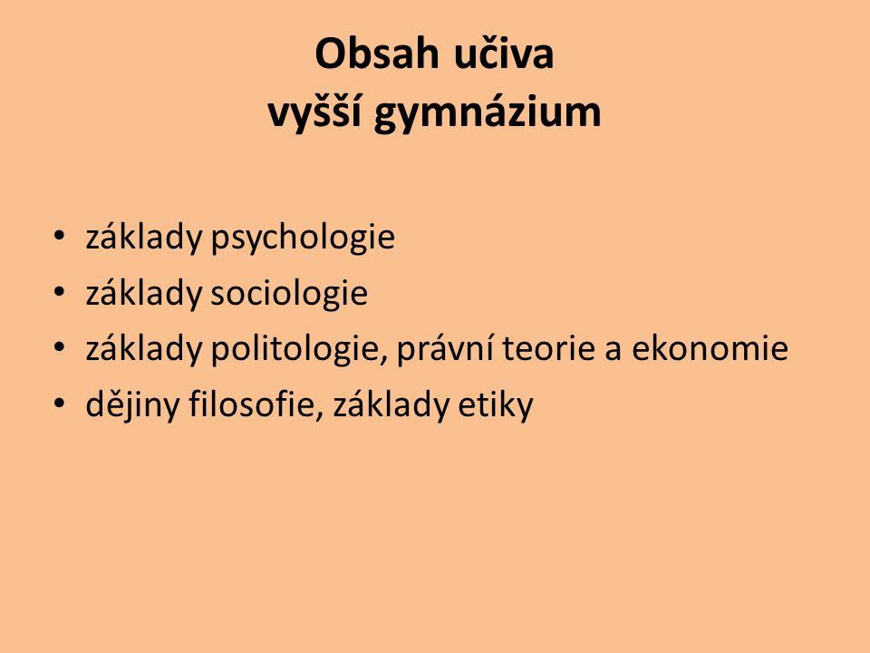 Obsah učiva vyšší gymnázium základy psychologie základy sociologie základy politologie, právní teorie a ekonomie dějiny filosofie, základy etiky